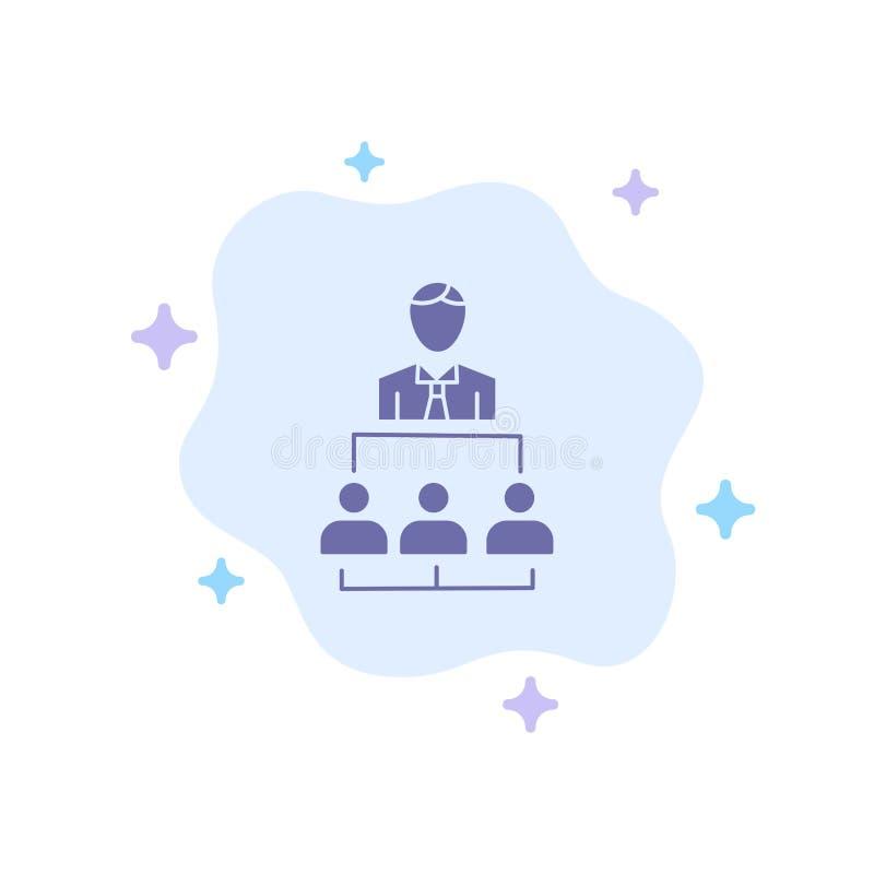 Organisation, Geschäft, Mensch, Führung, Management-blaue Ikone auf abstraktem Wolken-Hintergrund lizenzfreie abbildung