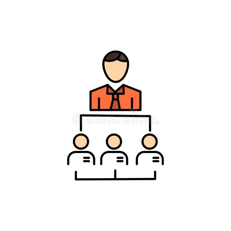 Organisation, Geschäft, Mensch, Führung, Management-flache Farbikone Vektorikonen-Fahne Schablone stock abbildung