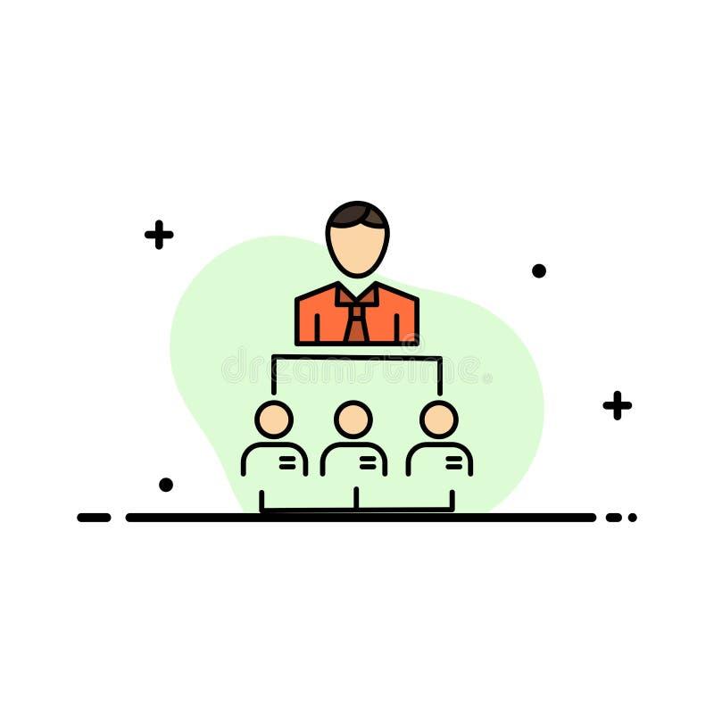 Organisation, Geschäft, Mensch, Führung, Management-Geschäfts-flache Linie füllte Ikonen-Vektor-Fahnen-Schablone stock abbildung