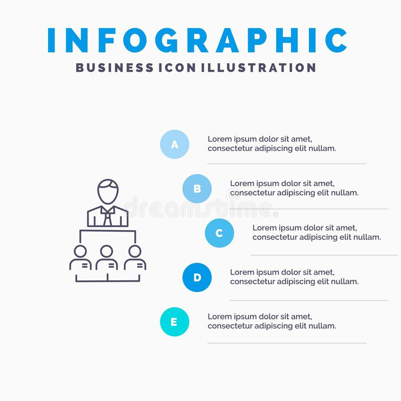 Organisation, Geschäft, Mensch, Führung, Management-Linie Ikone mit Hintergrund infographics Darstellung mit 5 Schritten stock abbildung