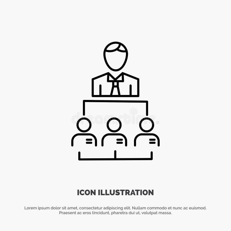 Organisation, Geschäft, Mensch, Führung, Management-Linie Ikonen-Vektor stock abbildung