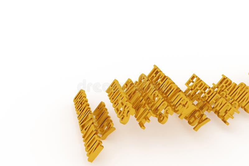 Organisation, goldene begrifflichwörter 3D des Geschäfts Cgi, Netz, Design u. digitales lizenzfreie abbildung