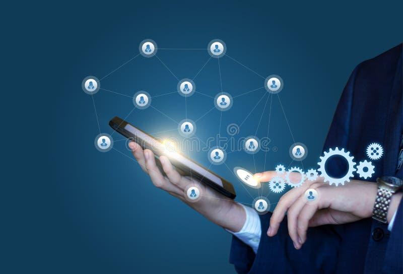 Organisation och utförande av arbete genom att använda det sociala nätverket vektor illustrationer