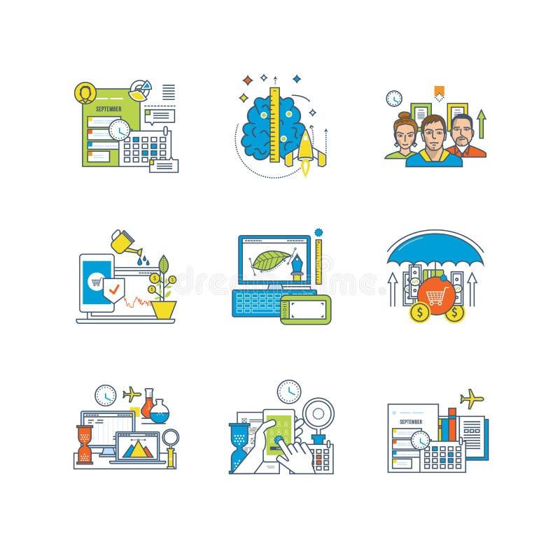 Organisation planläggning, ledning, design, kreativitet, utbildning, forskning, finans, investering royaltyfri illustrationer