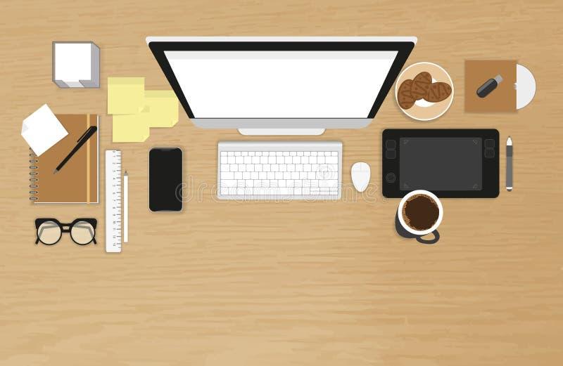 Organisation réaliste de lieu de travail illustration stock