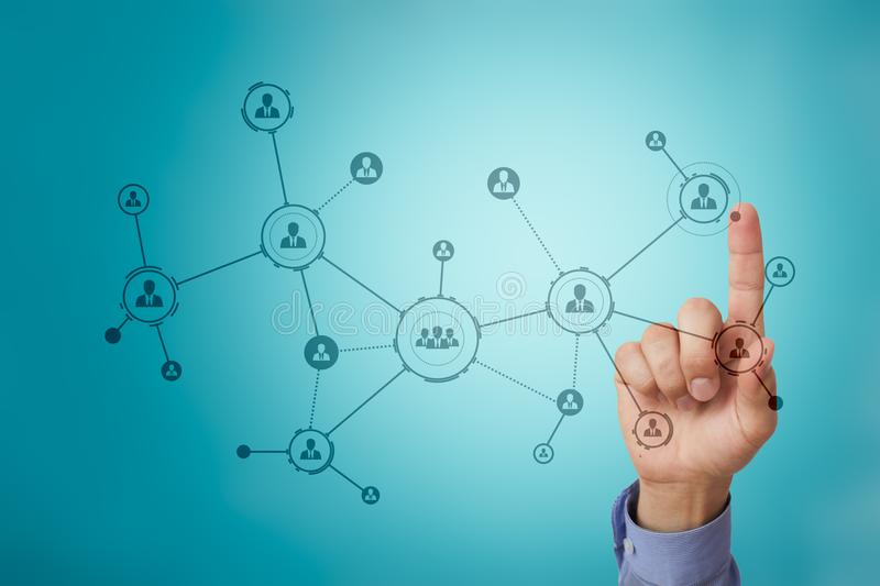 Organisation structure. People`s social network. Business and technology concept. royalty free stock photography