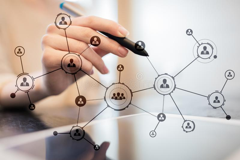 Organisation structure. People`s social network. Business and technology concept. royalty free stock photos
