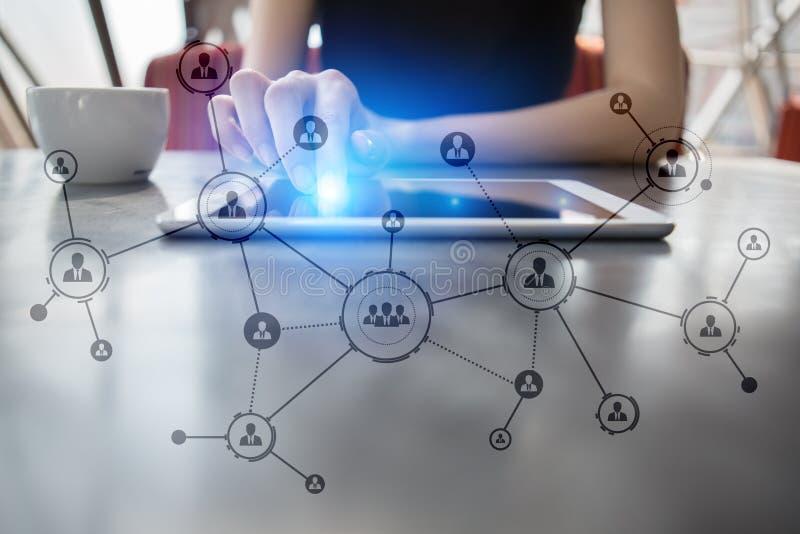 Organisation struktura Ludzie ` s socjalny sieci Biznesu i technologii pojęcie obrazy royalty free