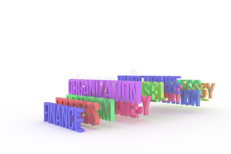 Organisation u. Finanzierung, bunte begrifflichwörter 3D des Geschäfts Hintergrund, Kommunikation, Netz u. Kreativität lizenzfreie abbildung