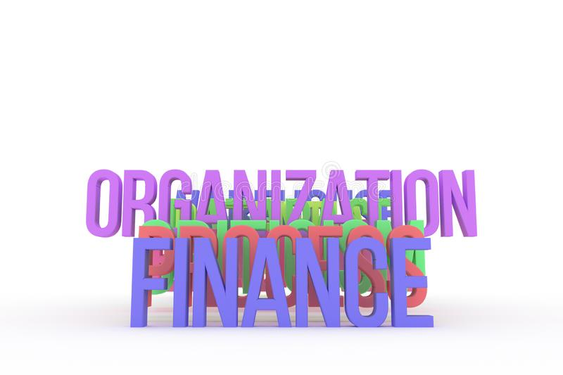 Organisation u. Finanzierung, bunte begrifflichwörter 3D des Geschäfts Tapete, Kreativität, Alphabet u. Positiv vektor abbildung