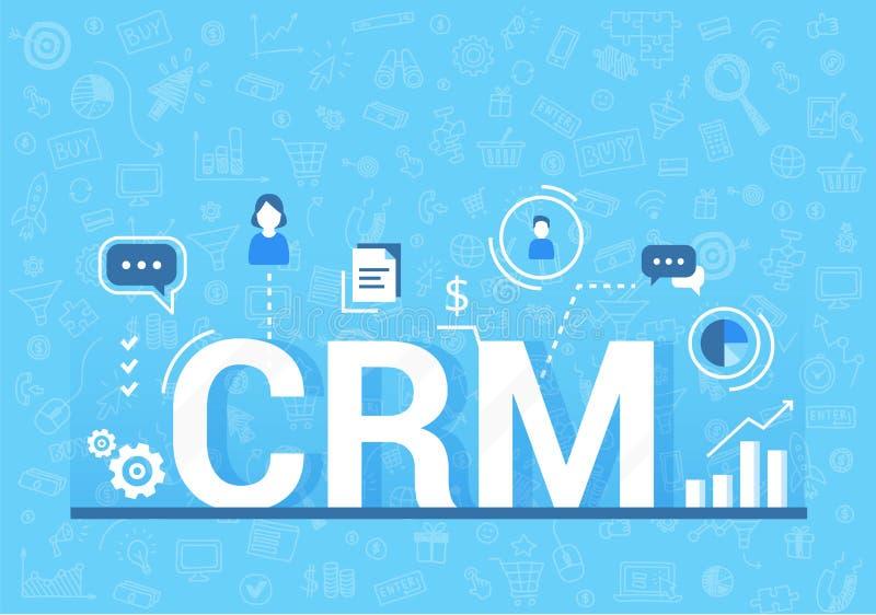 Organisation von Daten bezüglich der Arbeit mit Kunden, CRM-Konzept Kunden-Verhältnis-Managementvektorillustration lizenzfreie abbildung