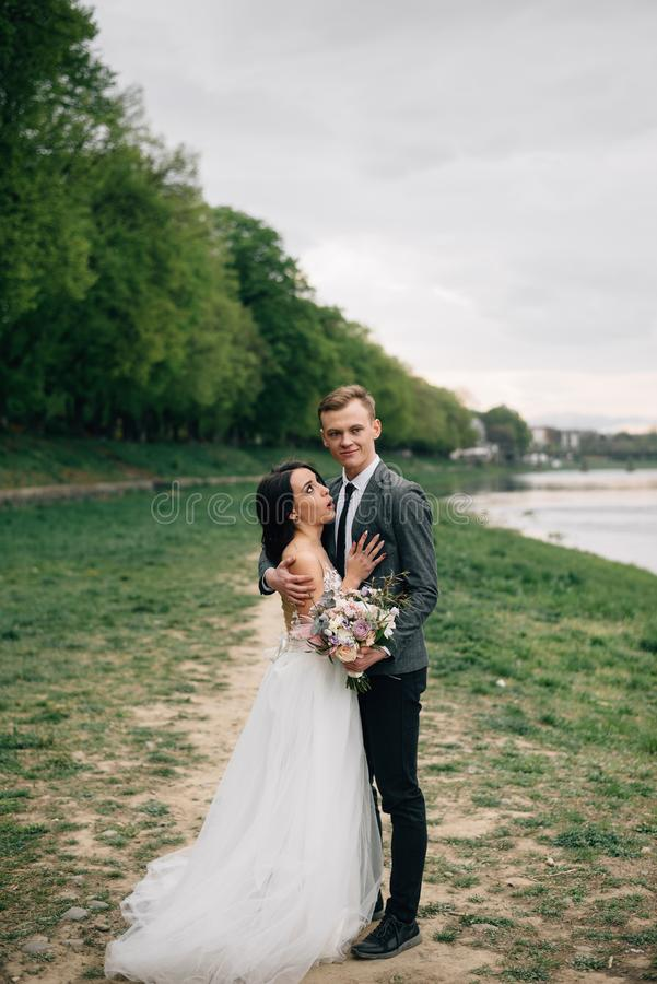 Organisationen av bröllop utomlands i Europa royaltyfria foton