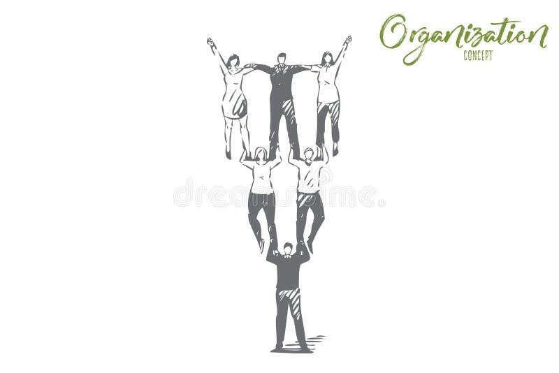 Organisationsbegreppet skissar Isolerad vektorillustration royaltyfri illustrationer