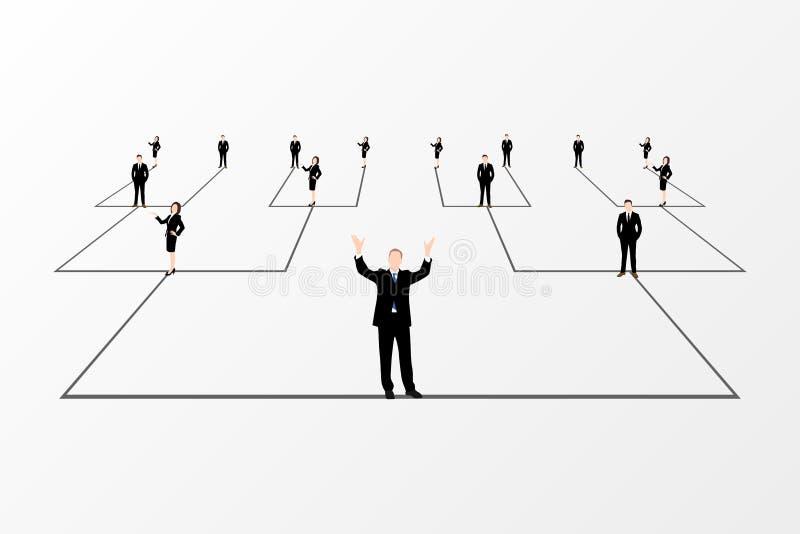 Organisationsdiagram Företags hierarki white för bakgrundsaffärsnätverk vektor royaltyfri illustrationer