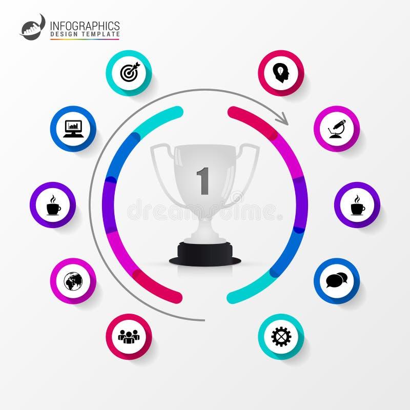 Organisationsdiagram med trofén Infographic designmall royaltyfri illustrationer