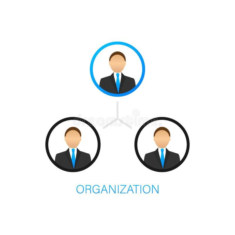 Organisationsdiagram Organisatorisk struktur Aff?r och kommers Teamwork Kontursymbol Yrkesmässig hierarki royaltyfri illustrationer