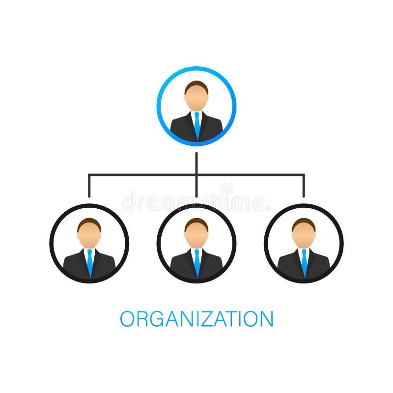 Organisationsdiagram Organisatorisk struktur Aff?r och kommers Teamwork Kontursymbol Yrkesm?ssig hierarki vektor illustrationer