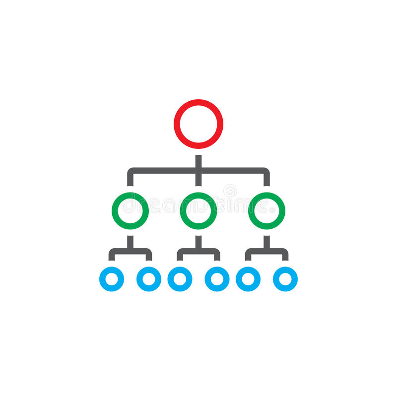 Organisationsdiagrammlinie Ikone, Entwurfshierarchie-Vektorlogo stock abbildung