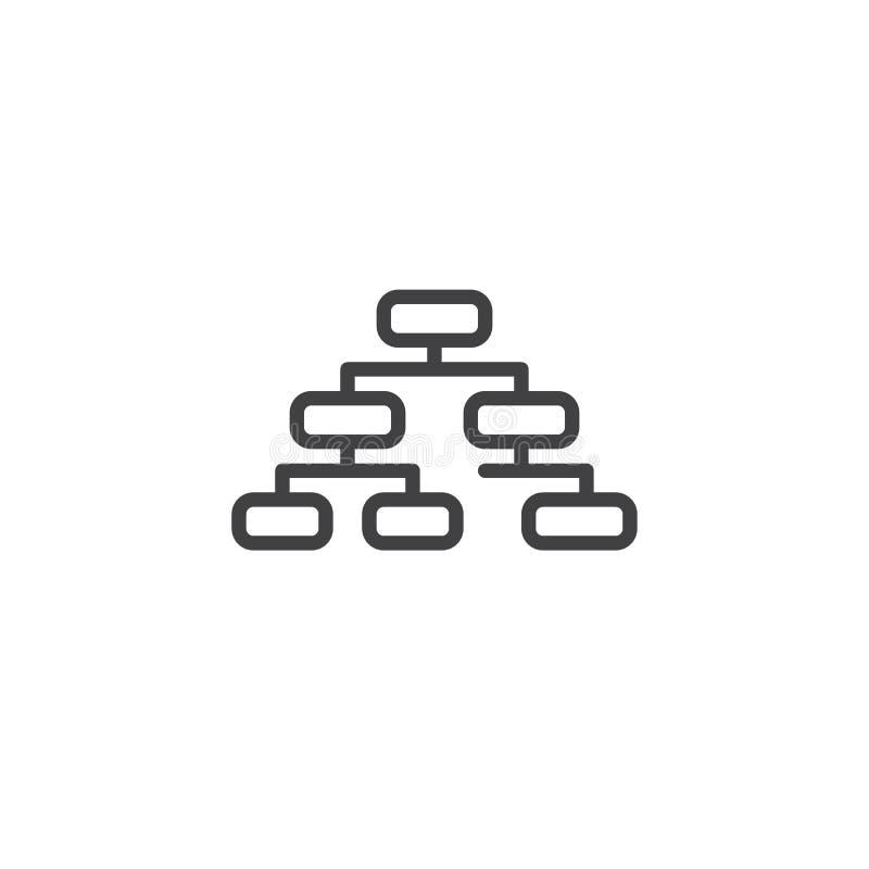 Organisationsdiagrammlinie Ikone vektor abbildung
