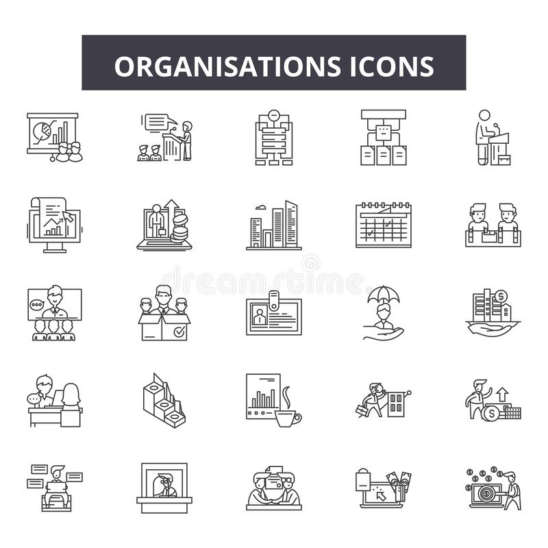 Organisationslinje symboler, tecken, vektoruppsättning, översiktsillustrationbegrepp vektor illustrationer