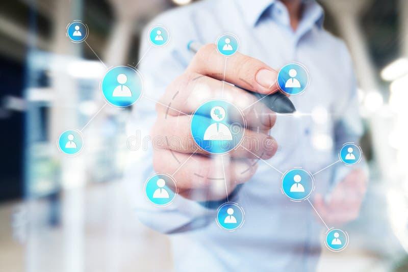 Organisationsstrukturdiagram, nätverk för kommunikation för folk` s Timme personalresurser royaltyfri foto
