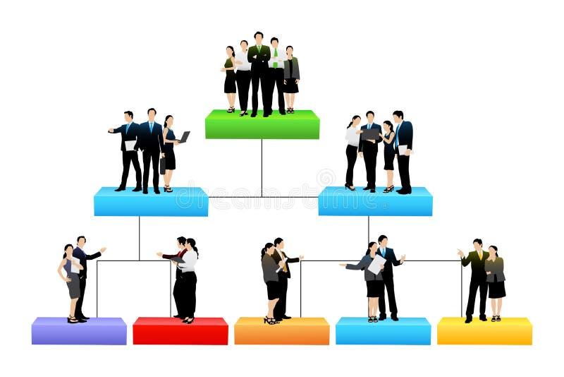 Organisationstree med den jämna olika hierarkin vektor illustrationer