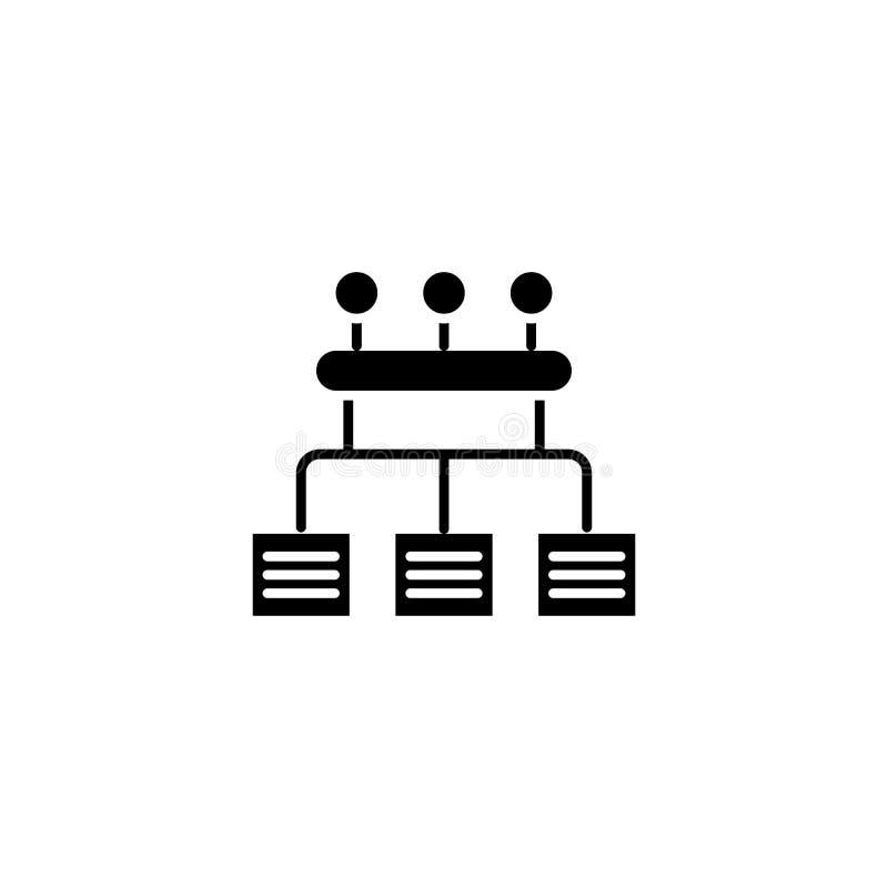 Organisatoriskt begrepp för symbol för timme-struktursvart Organisatoriskt symbol för vektor för timme-strukturlägenhet, tecken,  royaltyfri illustrationer