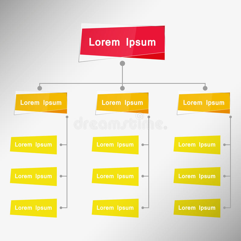 Organisatoriskt diagram Infographic, åtskillig färg, affärsstrukturbegrepp, process för affärsflödesdiagramarbete, vektor I för f royaltyfri illustrationer