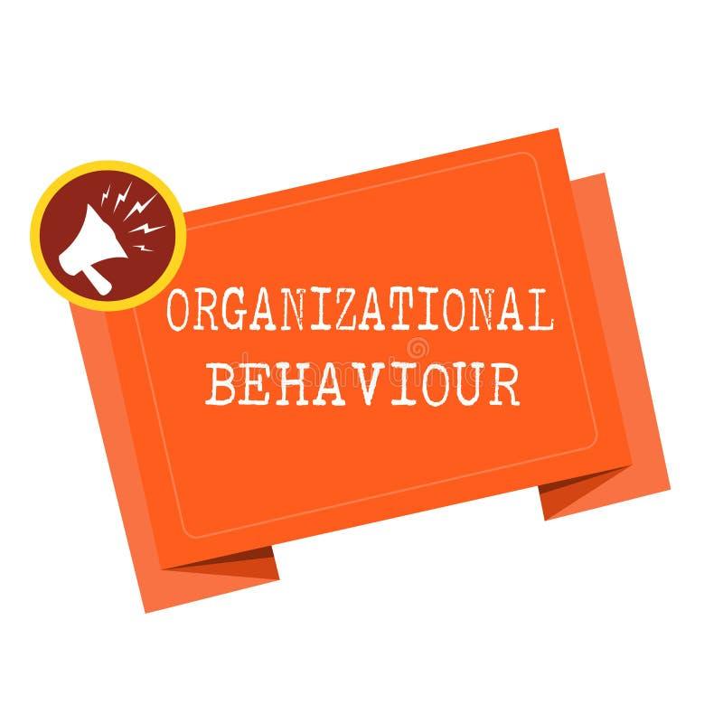 Organisatoriskt uppförande för ordhandstiltext Affärsidéen för studien av vägfolket påverkar varandra inom grupper stock illustrationer