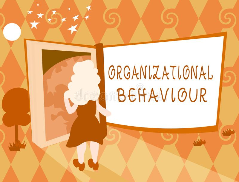 Organisatoriskt uppförande för ordhandstiltext Affärsidéen för studien av vägfolket påverkar varandra inom grupper royaltyfri illustrationer