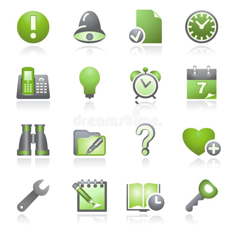 Organisatorweb-Ikonen. Graue und grüne Serie. lizenzfreie abbildung