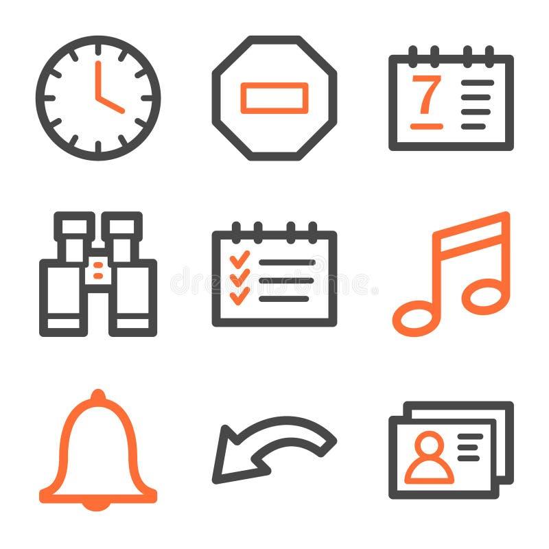 Organisatorweb-Ikonen-, Orange und Graueform lizenzfreie abbildung