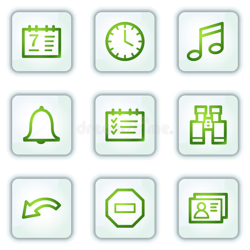 Organisatorweb-Ikonen, Tasten des weißen Quadrats stock abbildung