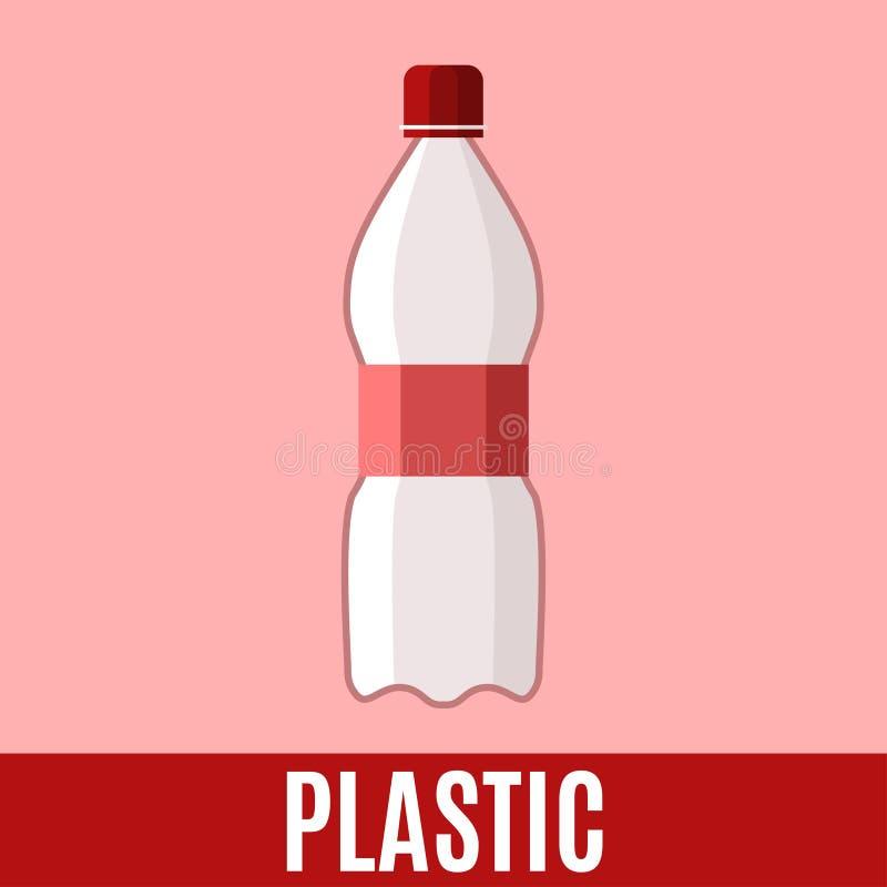 Organisch afval vlak pictogram met plastic fles en teksten royalty-vrije illustratie