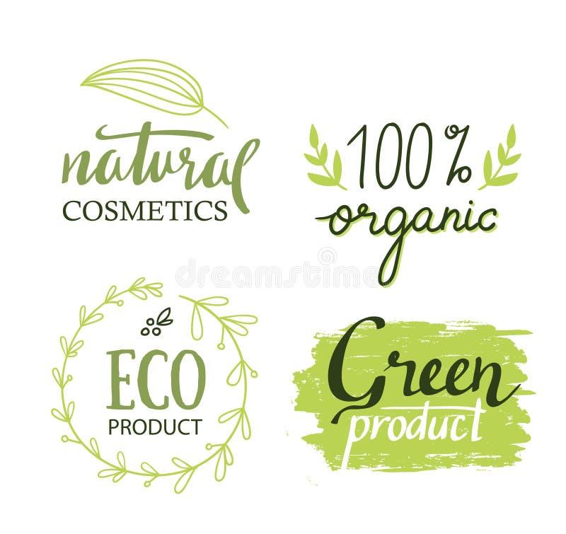 Organisch, Bio, Aufkleber-Vektorsatz der Ökologie natürlicher stock abbildung
