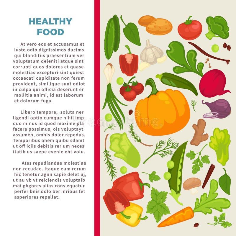 Organisch de affiche van het groentenvoedsel malplaatje als achtergrond voor dieet vegetarisch het eten of veganistdieet vector illustratie