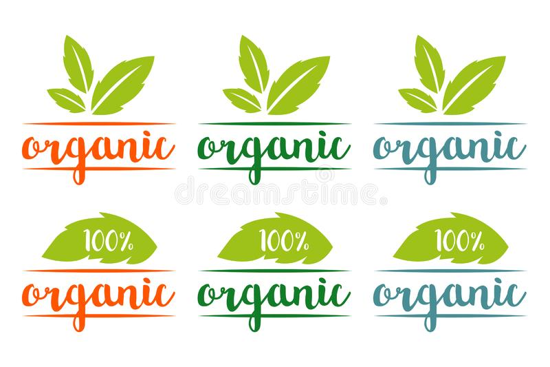 100% organisch die embleem in verschillende kleuren met kruidenbladeren wordt geplaatst vector illustratie