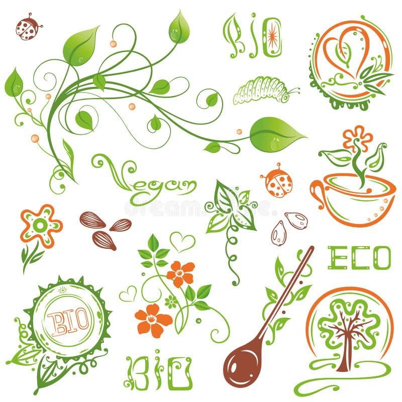 Organisch, eco, strenger Vegetarier, Natur vektor abbildung