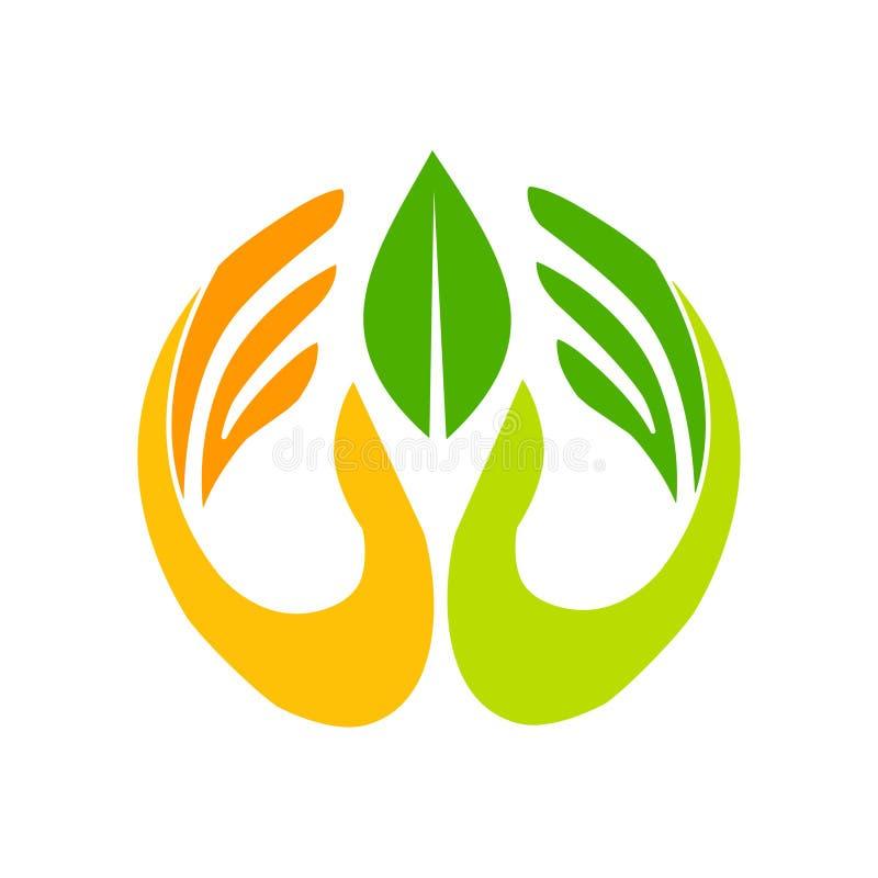Organisch embleem Doorbladert in hand embleem Natuurlijke productenembleem royalty-vrije illustratie