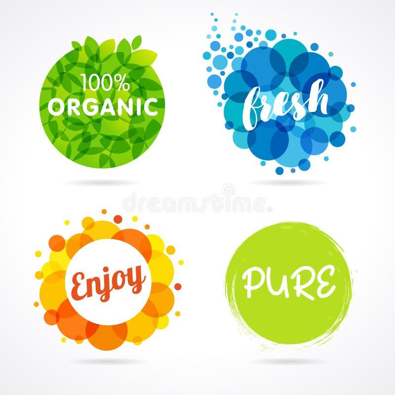 Organisch, frisch, genießen Sie, reine farbige Aufkleber stock abbildung