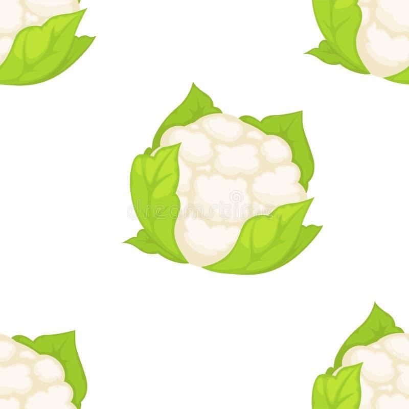 Organisch het landbouwbedrijfvoedsel van het bloemkool plantaardig naadloos patroon royalty-vrije illustratie