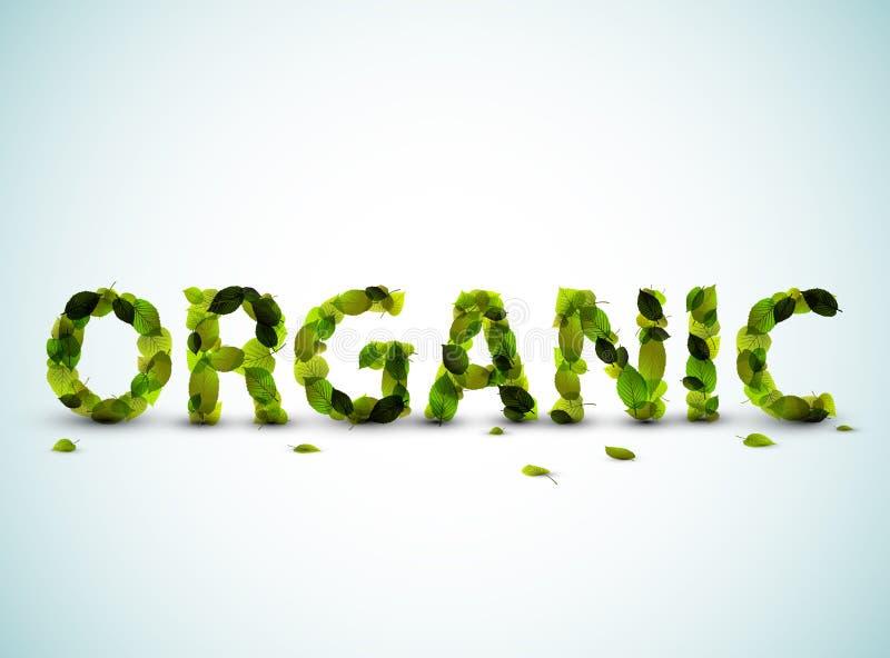 Organisch - het vectorwoord dat van verse groen wordt gemaakt doorbladert royalty-vrije illustratie
