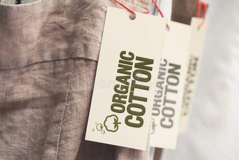 Organisch Katoenen Etiket stock foto's