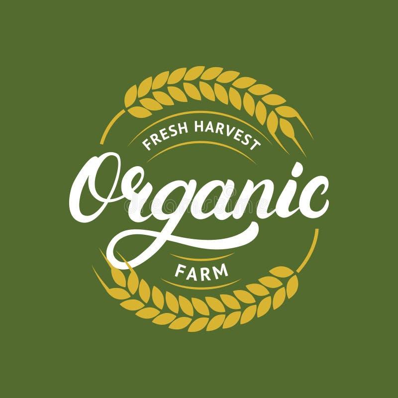 Organisch landbouwbedrijfhand geschreven van letters voorziend embleem, etiket, kenteken of embleem voor natuurlijke landbouwprod stock illustratie