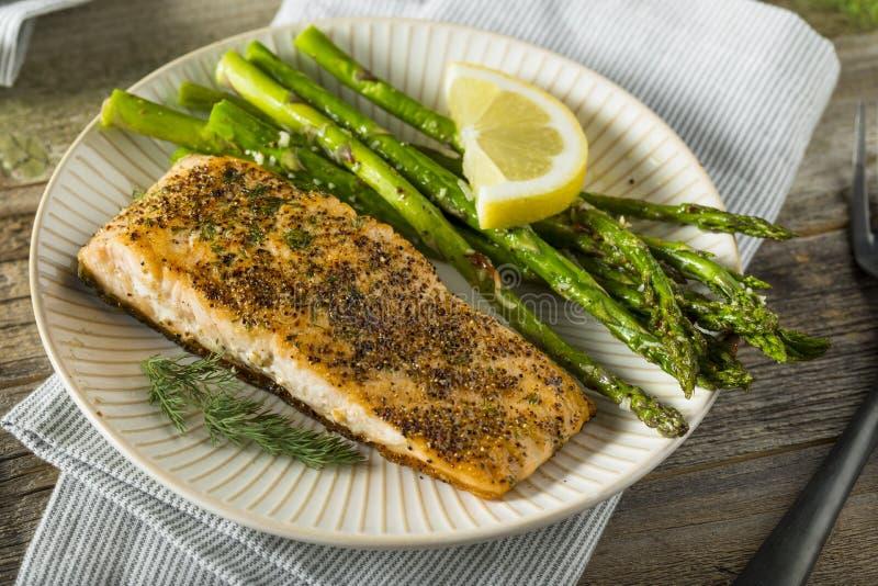 Organisch Pan Seared Salmon royalty-vrije stock foto's