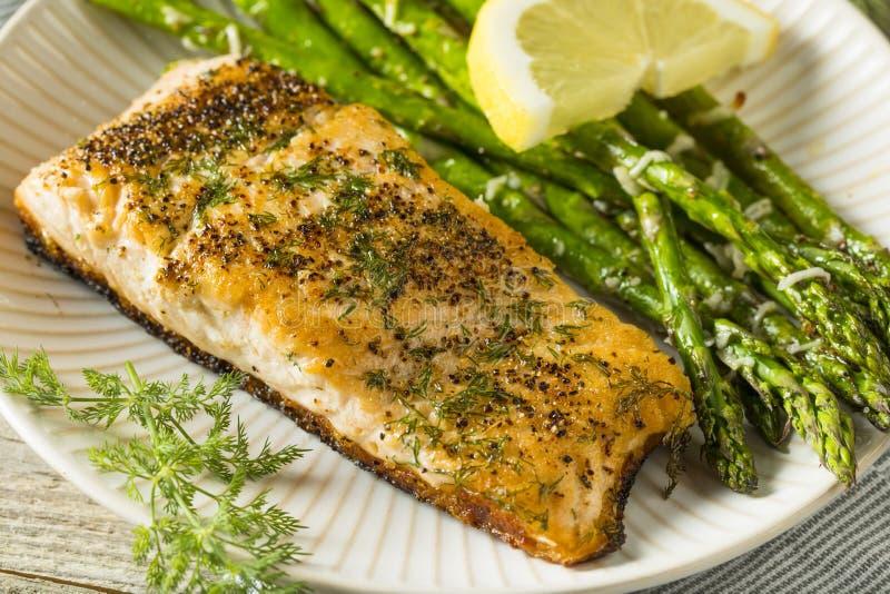 Organisch Pan Seared Salmon stock afbeeldingen