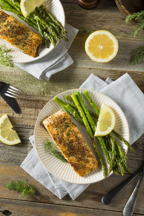 Organisch Pan Seared Salmon royalty-vrije stock afbeeldingen