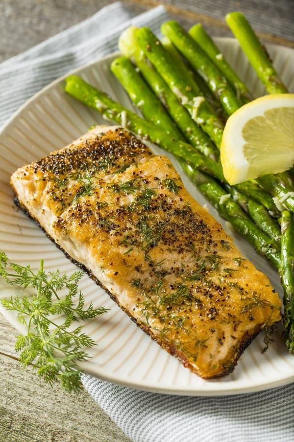 Organisch Pan Seared Salmon royalty-vrije stock fotografie