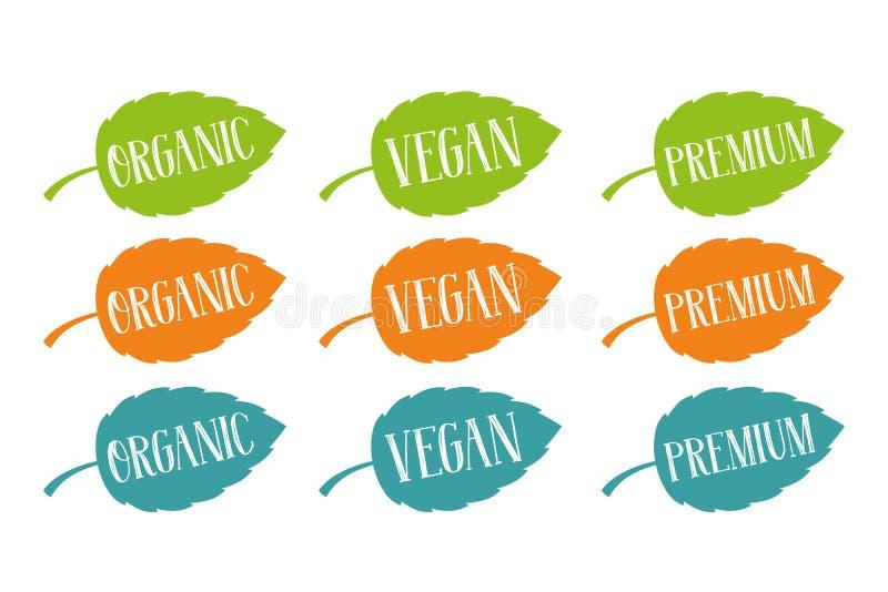 Organisch, veganist en premievector voor Web en druk wordt geplaatst die Hand getrokken typografie op kleurrijke bladeren vector illustratie