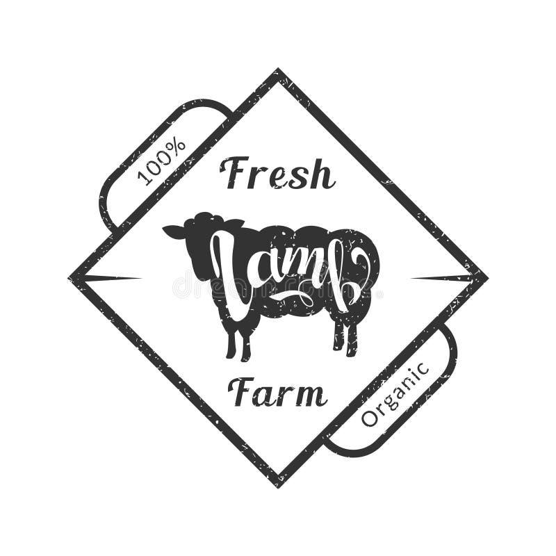 Organisch Vers Landbouwbedrijfvlees, Premiekwaliteit Retro Logo Template, Kenteken met Lam voor Slachterij, Vleeswinkel, die verp royalty-vrije illustratie